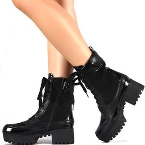 8a9317aeed2 Shoes - Black Combat Platform Lug Sole Ankle Boot Booties